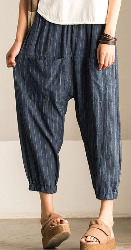 French cotton clothes For Women Plus Size Summer Women Loose Stripe Stripe Lantern Pants