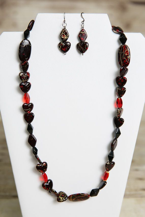Red Black And Gold Acrylic And Glass Beaded By Jewelrystyleandmore