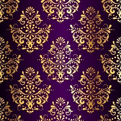 Purple and gold damask