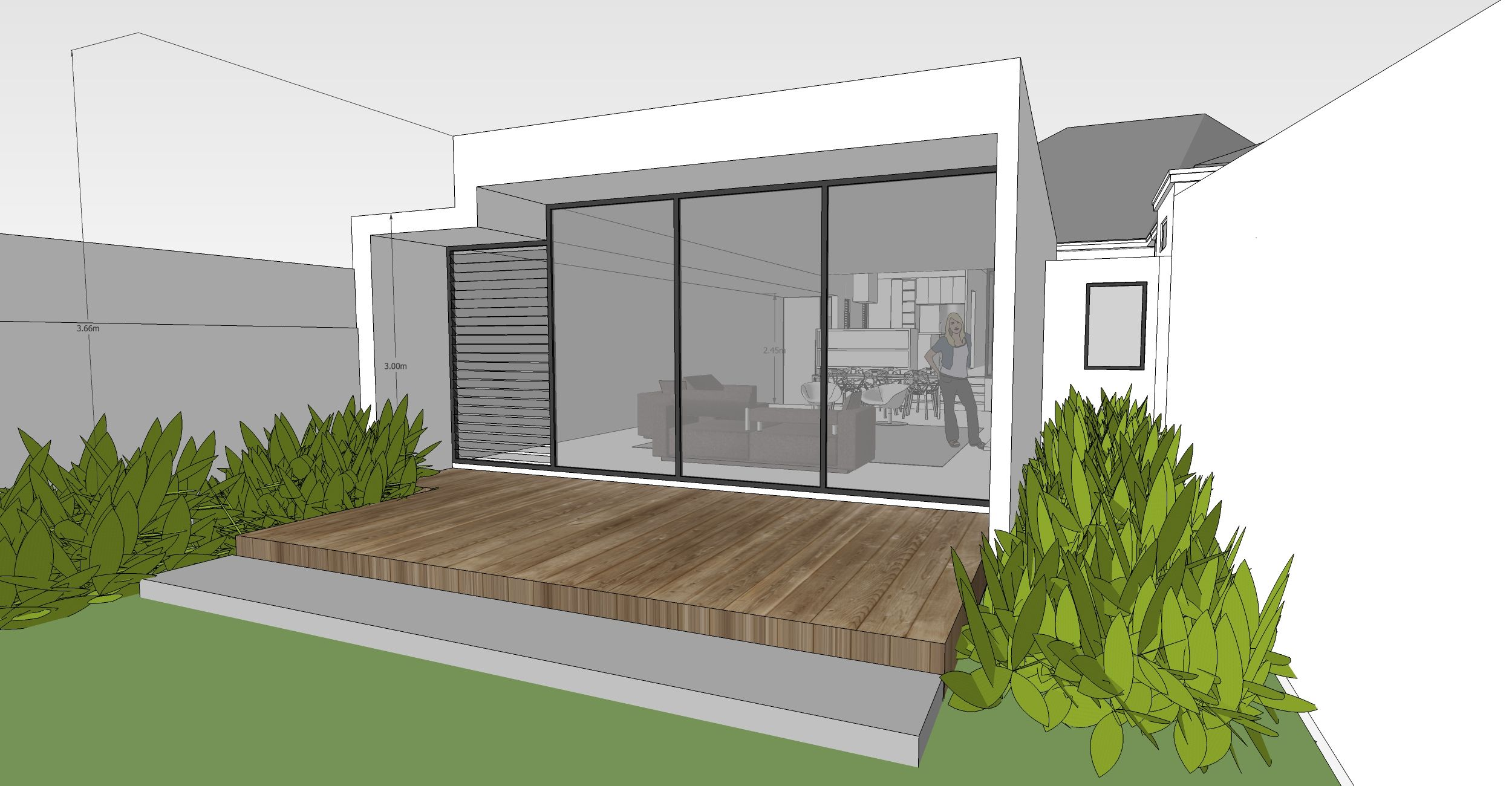 SketchUp drawing of view from back yard through to new ... on Sketchup Backyard id=22390