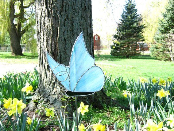 Stained Glass Garden Stakes Patterns | Custom Made Stained Glass Butterfly  Garden Stake
