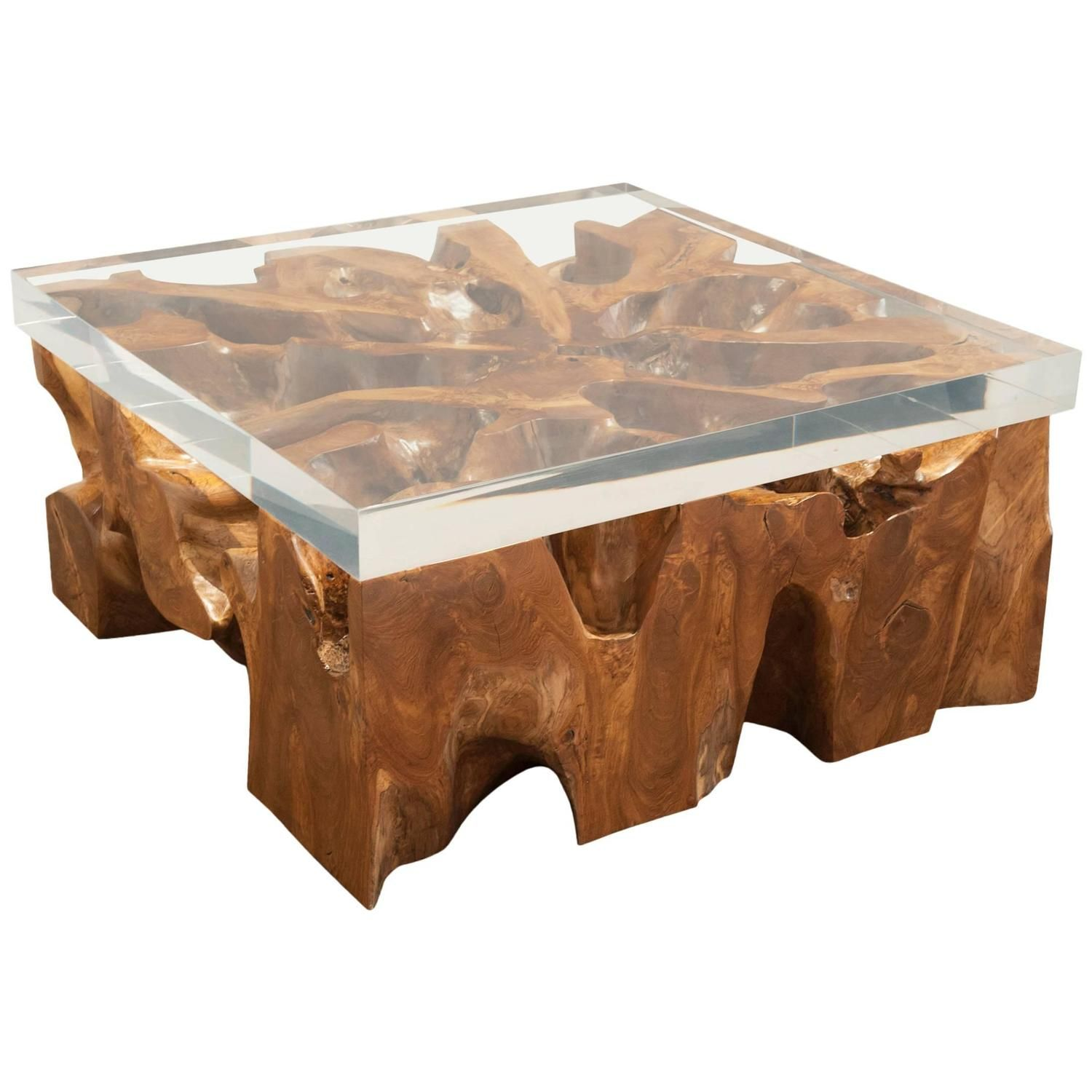 Charmant Large Lucite And Wood Coffee Table   From A Unique Collection Of Antique  And Modern Coffee And Cocktail Tables At ...