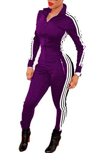 4d1654e1db ONTBYB Women Fashion Long Sleeve Zipper Front Bodycon Sweatsuit Jumpsuit  Sport Outfit