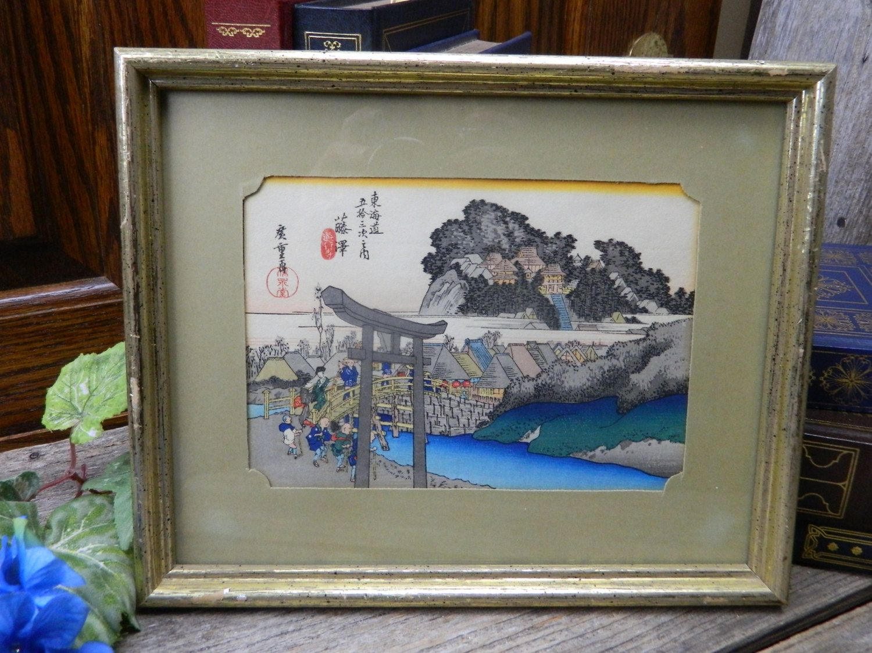 Vintage Japanese Fujisawa, One of the Tokaido 53 Stations Woodblock Framed Print…