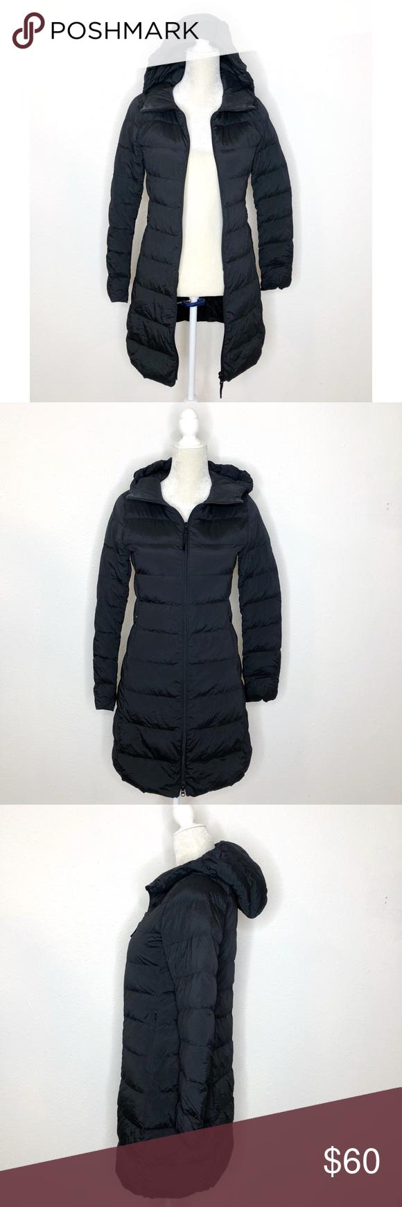 Uniqlo lightweight Black Hooded Puffer Coat XS Puffer