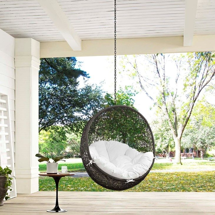 Hide Outdoor Patio Swing Chair Without Stand In Gray White   LexMod