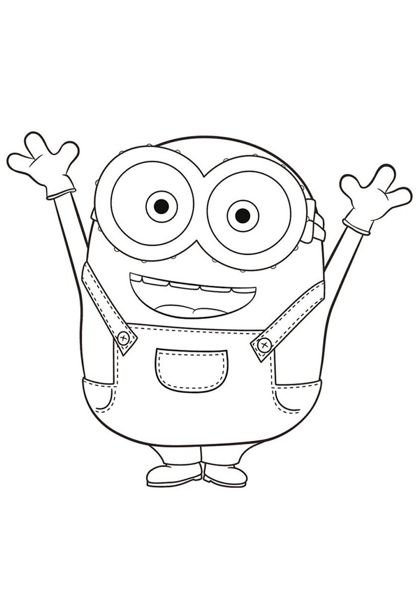 Happy Bob High Quality Free Coloring Page From The Category Minions More Printable Pictures On Minions Dibujos Dibujos Para Colorear Minions Minion Dibujo