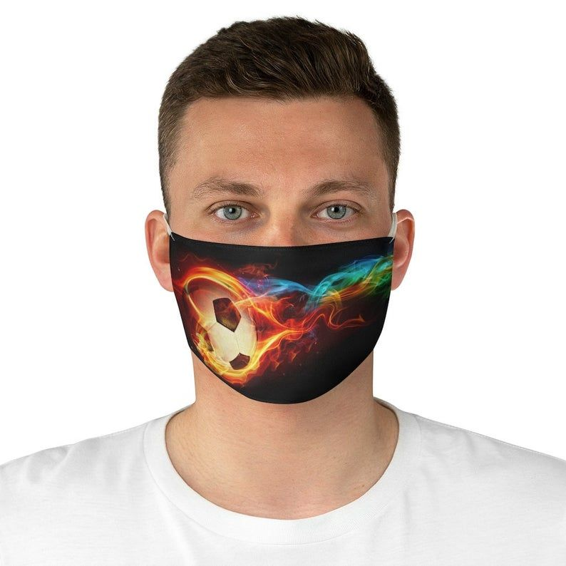 Soccer Face Mask Football Fabric Face Mask Fifa Mask Mask Etsy In 2020 Football Fabric Face Mask Face