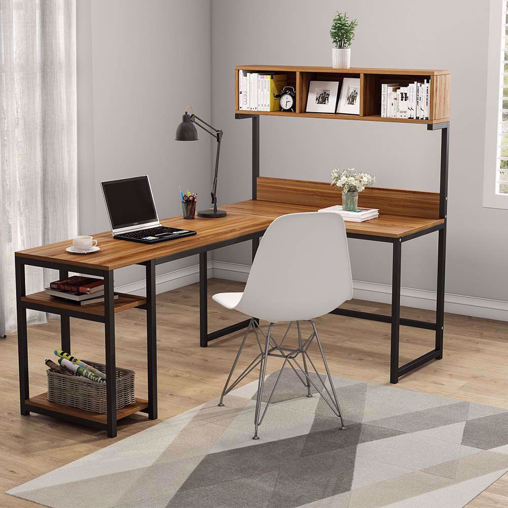 L Shaped Office Desk With Storage Shelves In 2020 L Shaped Office Desk Wooden Computer Desks Desk Storage
