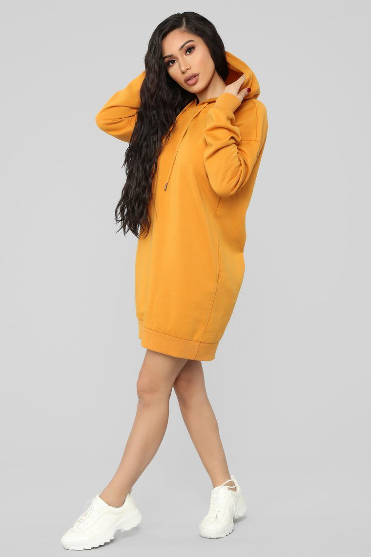35c404d8461c Available In Burgundy, Charcoal, Heather Grey, Mustard, Navy, And Off White  Pullover Hoodie Mini Dress Long Sleeve Drawstrings Pockets Stretch Shell 1  : 60% ...