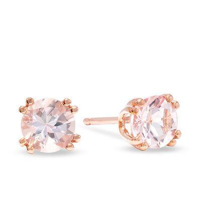 5 0mm Morganite Stud Earrings In 10k Rose Gold