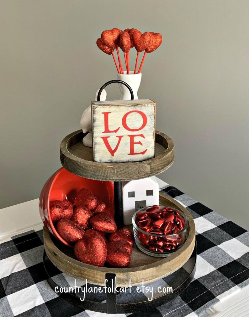 Mini Valentines Day tiered tray serving tray