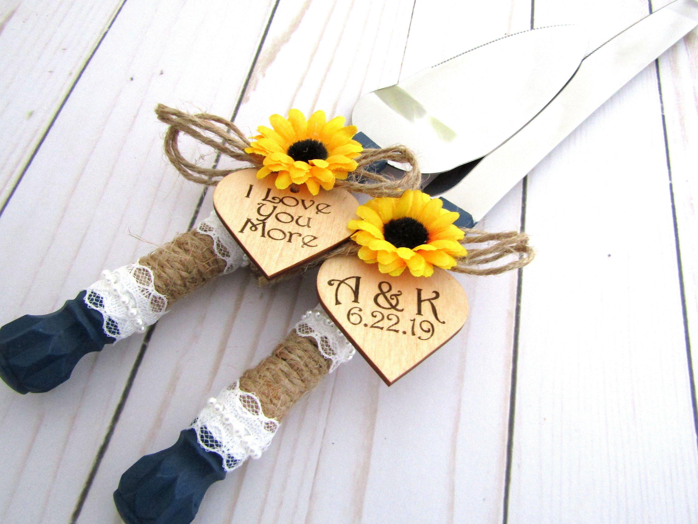Personalized Rustic Sunflower Wedding Cake Server Knife