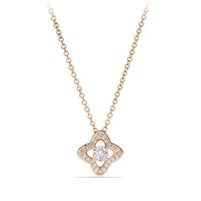 Venetian Quatrefoil Necklace with Diamonds in 18K Rose Gold