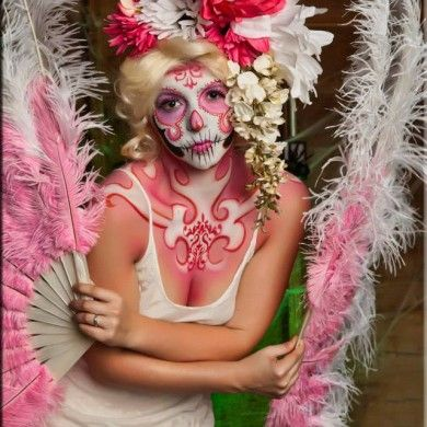"Another lovely ""candy skull"" inspired face by J&D Entertainment's makeup artist, Houston airbrush www.jdentertain.com"
