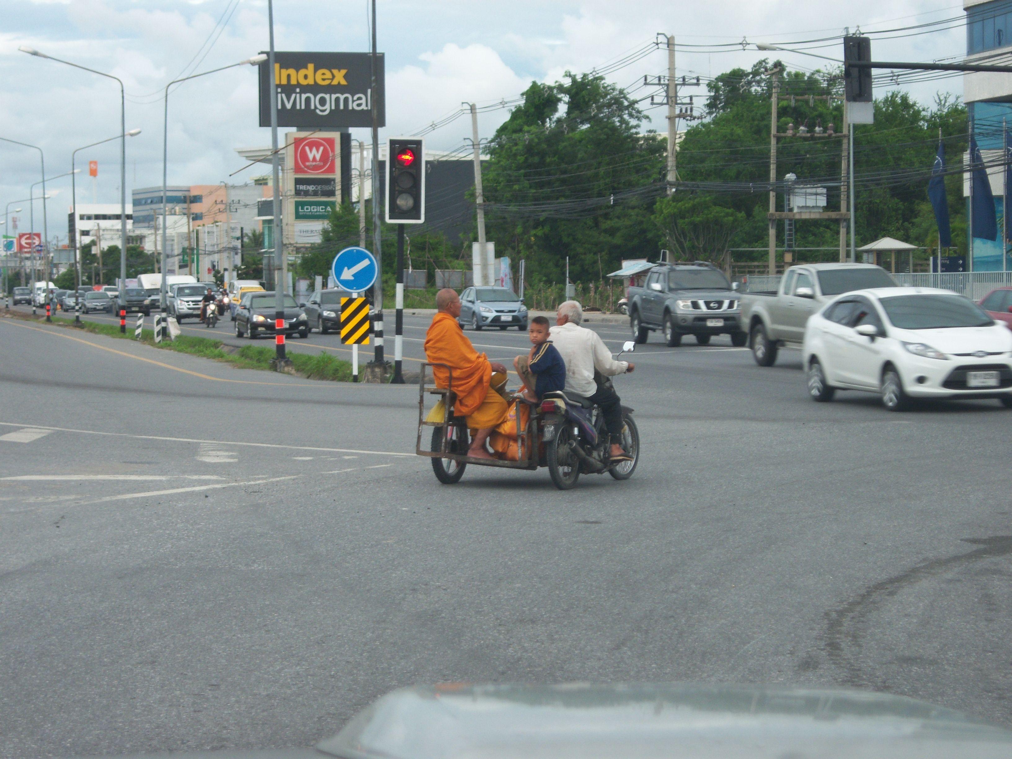 Buddhist Monk On Sidecar In Thailand