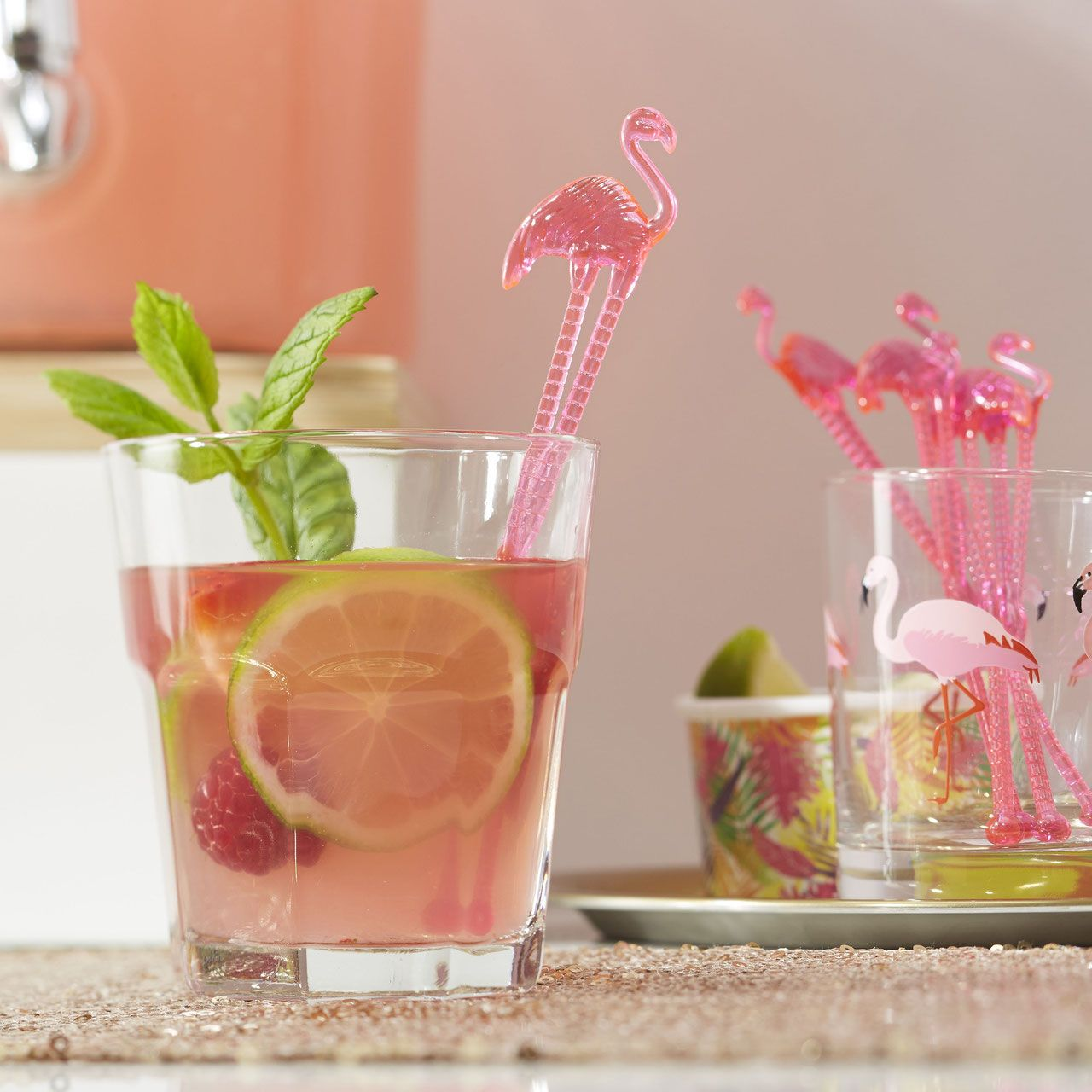 Tropical Flamingo Pink Drink Stirrers Cocktail Stirrers Summer Hawaiian BBQ