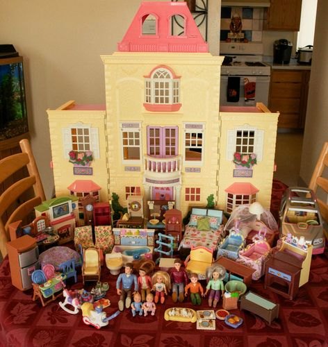 fisher price loving family little twin time dollhouse/van huge lot