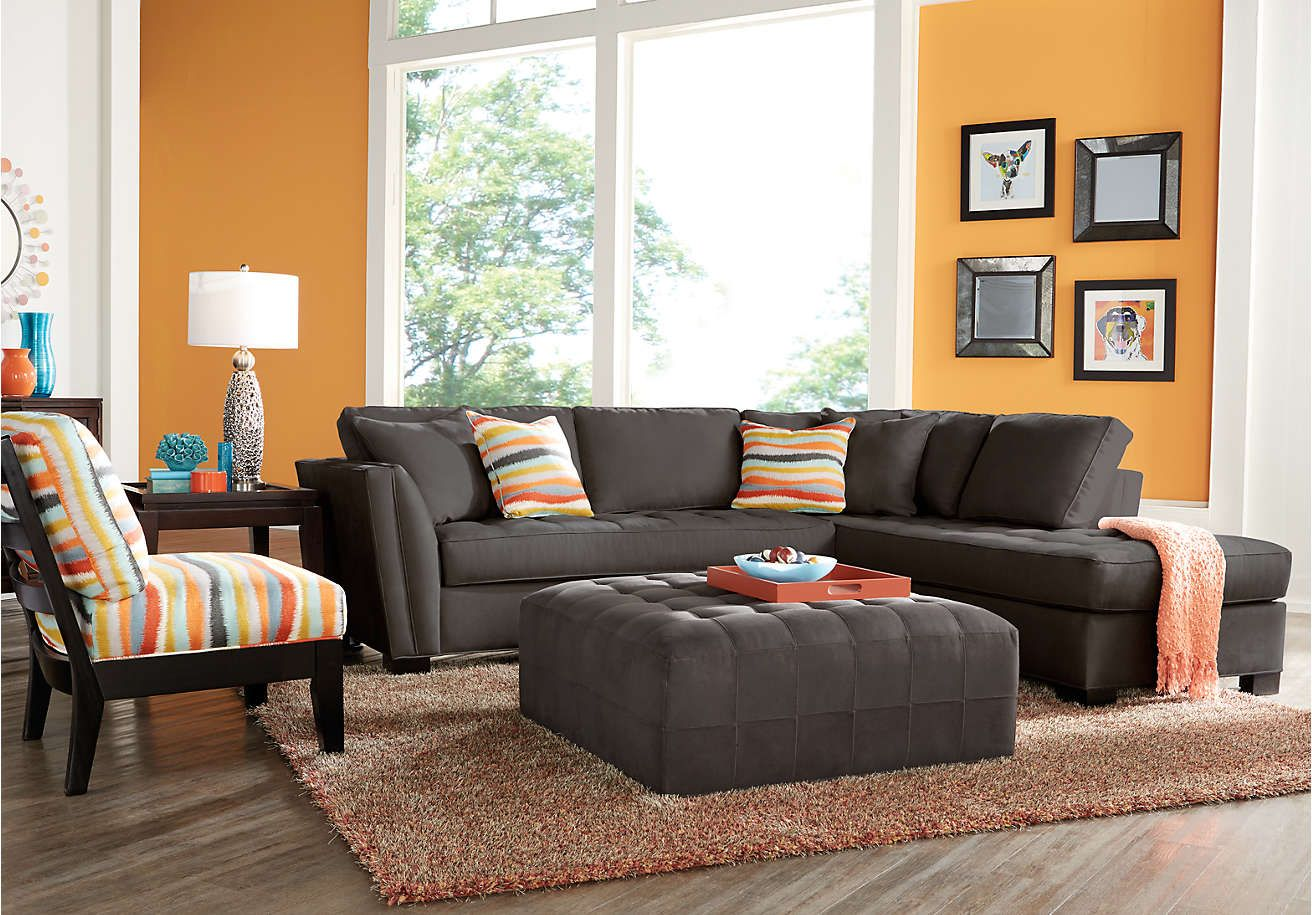 Cindy Crawford Home Calvin Heights Slate 2 Pc Sectional  Living Endearing Sectional Living Room Sets 2018