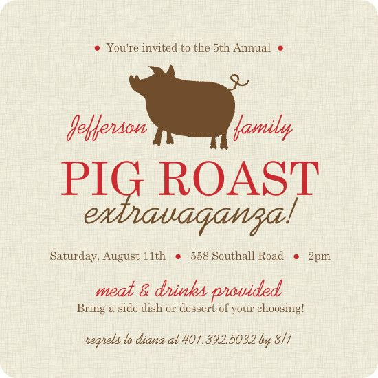 Burlap Brown And Red Pig Roast Bbq Invite by PurpleTrail - bbq invitation template