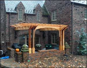 16 X 14 Custom Cedar Pergola Shown With Wall Mount Decorative