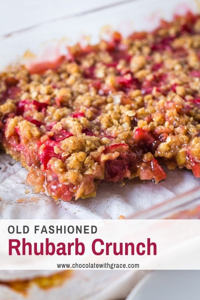 Rhubarb Crunch is similar to rhubarb crisp, with a with crumble topping layer on the bottom as well as the top. A great rhubarb dessert recipe for Easter or Mother's Day. #rhubarb #dessert