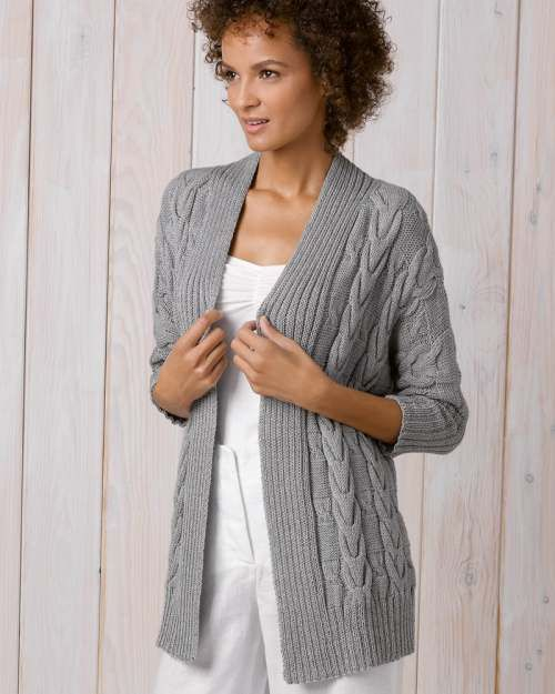 0efe7fdb20a312 Katia Cabled Women s Cardigan Free Knitting Pattern