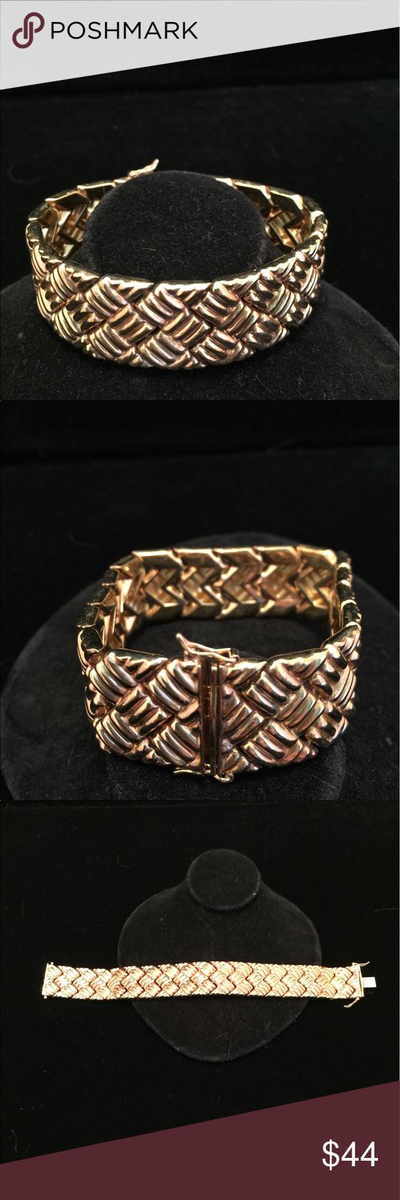 Weave design thick gold sterling silver bracelet silver bracelets