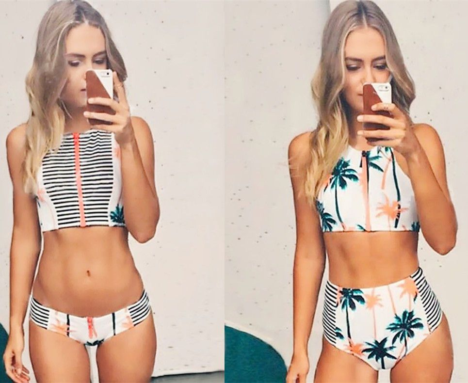 Hot Sale Straped Two Pieces Print Swimwear Bikini