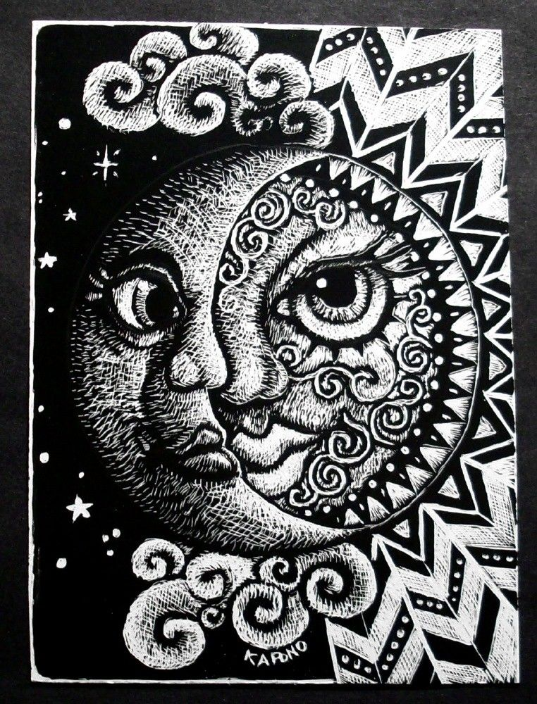ACEO Celestial Sun And Moon Scratchboard