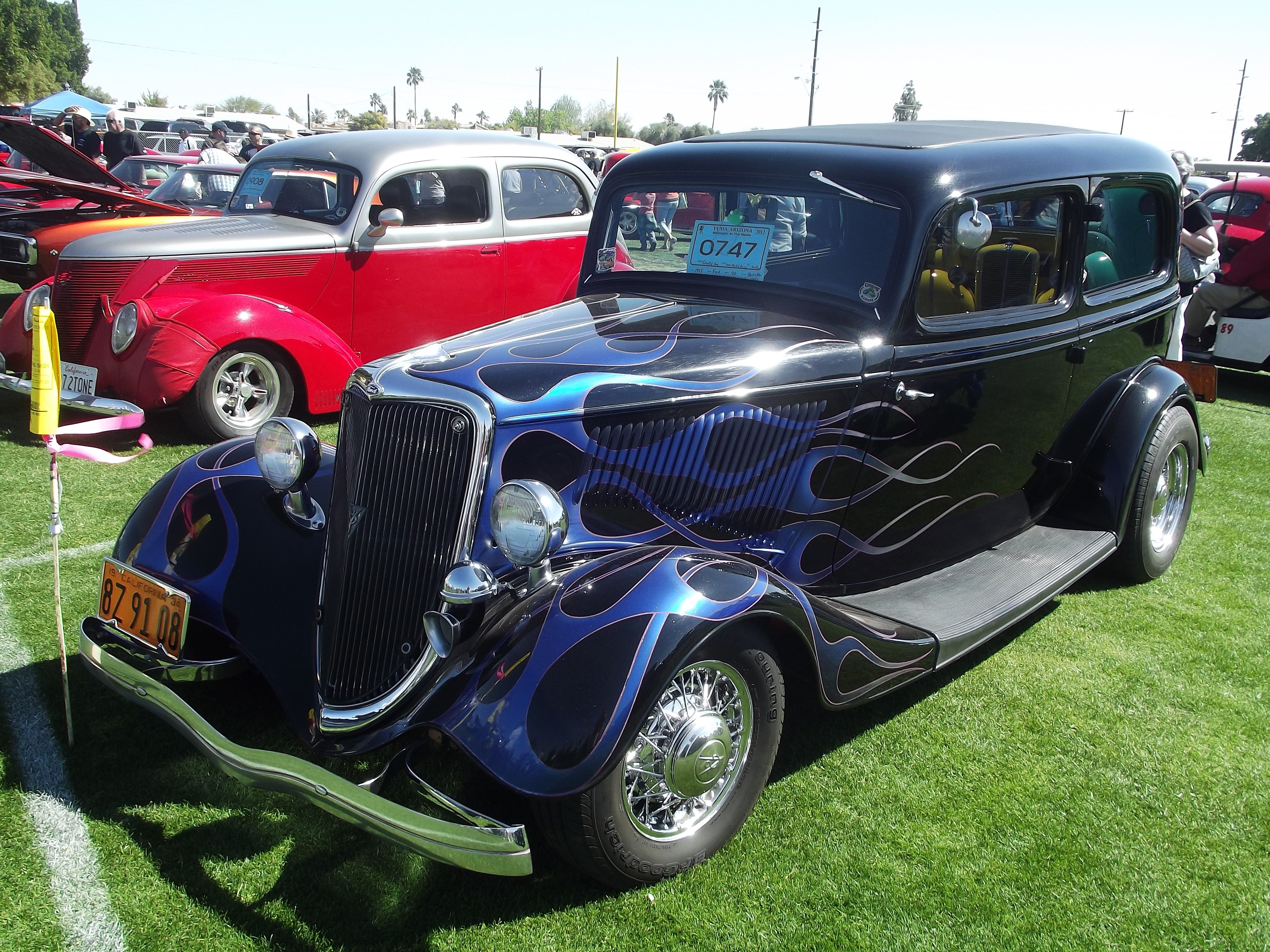 34 Ford Roadster Black & Purple Flame @ Midnight @ the Oasis
