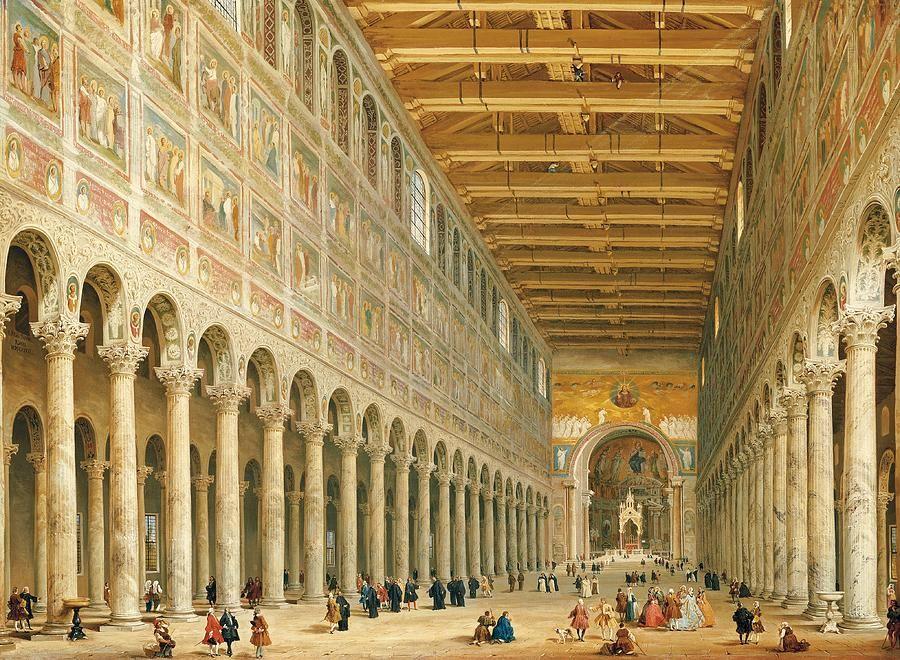 Interior Of San Paolo Fuori Le Mura By Giovanni Paolo Panini Italian Painters Giovanni Architecture