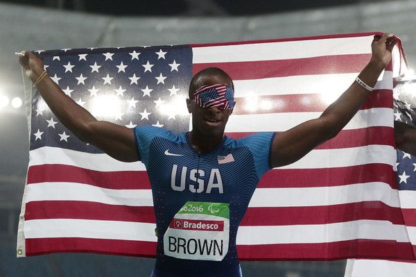 David Brown of United States celebretes the victory after the Men's 100m - T11 Final during day 4 of the Rio 2016 Paralympic Games at the Olympic Stadium on September 11, 2016 in Rio de Janeiro, Brazil.