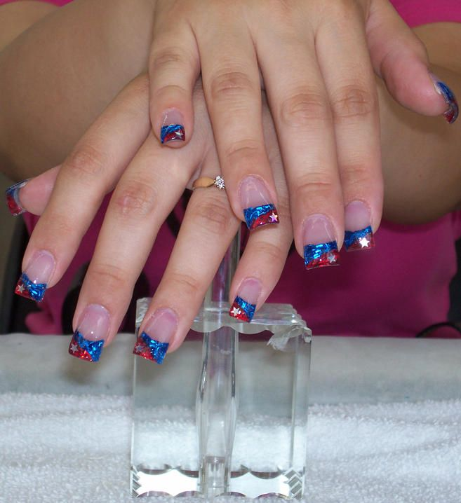 Manicure with blue tips this is a two tones color powder tips acrylic 26 cute acrylic nail designs red and blue stars glitter nail design prinsesfo Gallery