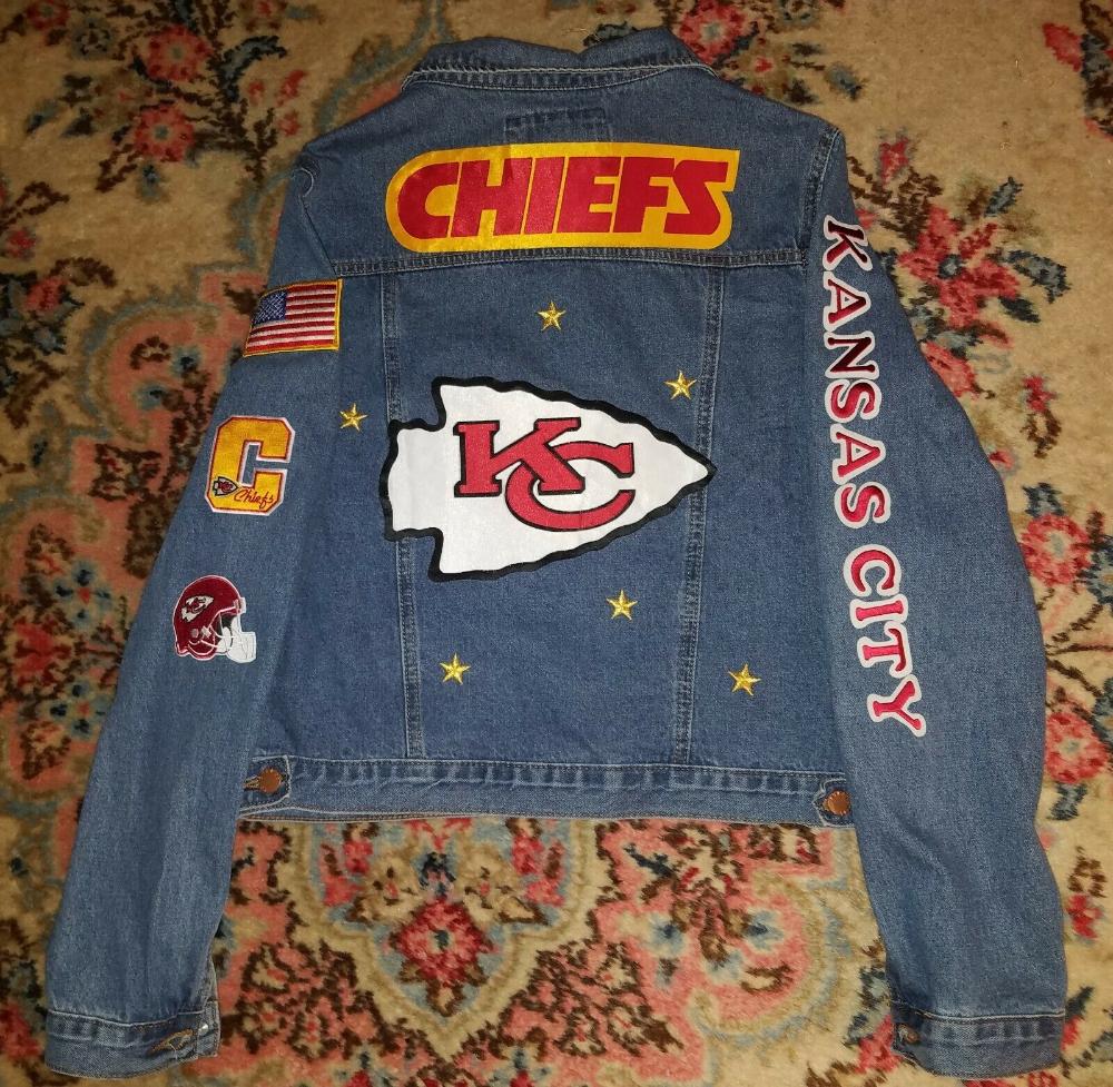 Women Men Boy Girl Kansas City Chiefs Custom Jean Denim Jacket S M L Xl Denim Jacket Jackets Custom Jeans [ 977 x 1000 Pixel ]