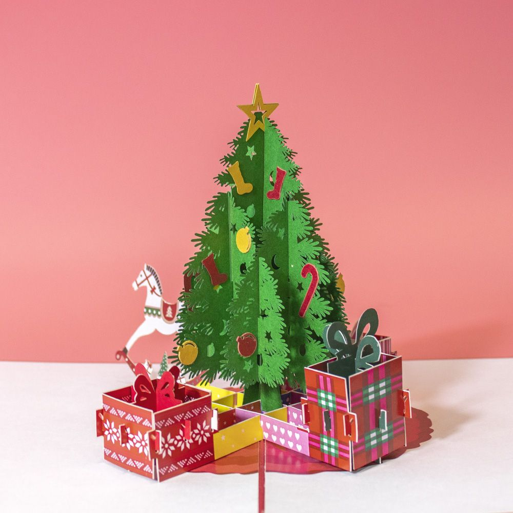 Christmas tree and gift boxes pop up card in 2020