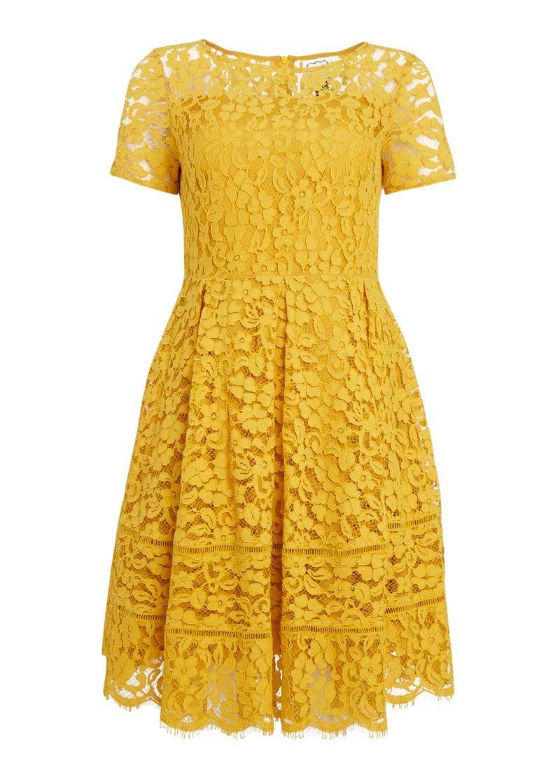 Short Sleeve Lace Dress Lined Mustard Yellow Dress It Up