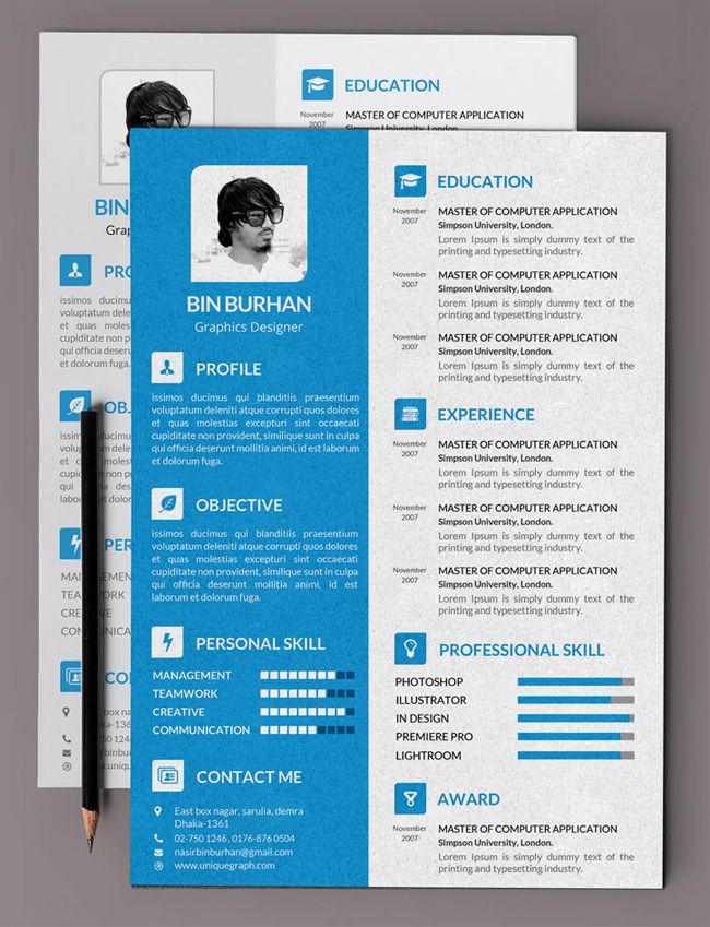 Free Flat Resume PSD Template with CV Resume design