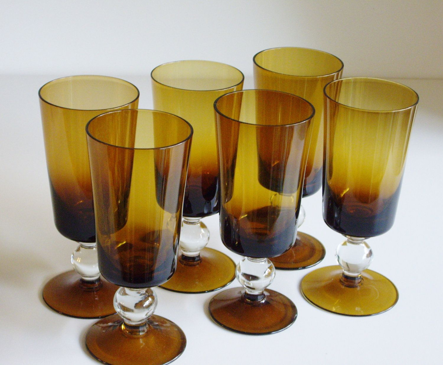 dark amber crystal tall cocktail or water glasses  set of   mid  - dark amber crystal tall cocktail or water glasses  set of   mid centurysmoke