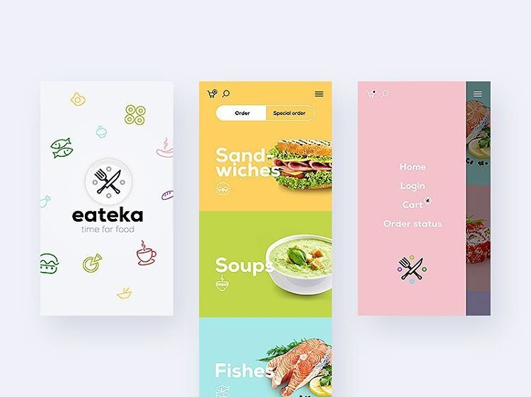 Yummy food delivery app by lluck. Neat typography and color choices. Use #barelycooldesigns hashtag to be featured 😉 #uiux #uidesign #uxdesign #inspiration #illustration #graphicdesign #webdesign #appdesign #ios #android #typography