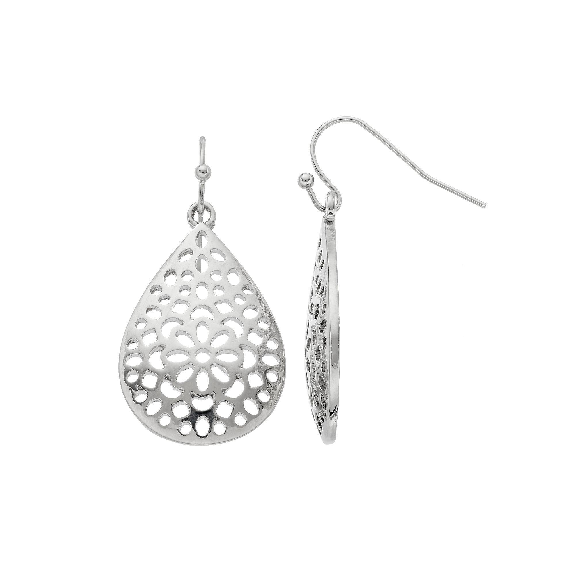 Openwork Nickel Free Teardrop Earrings, Women's, Silver