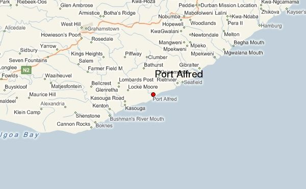 Port Alfred Map South Africa Port Alfred, South Africa | West hill, South africa, Grahamstown
