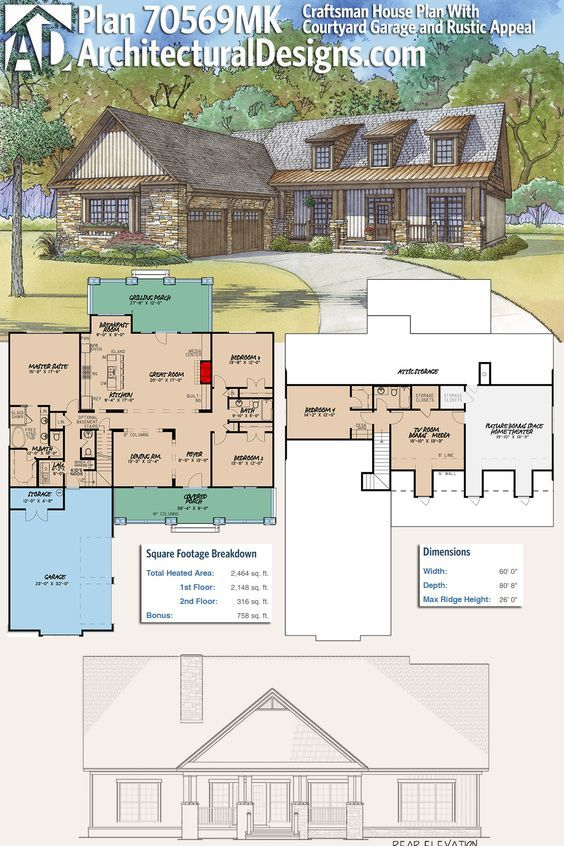 Plan 70569mk Craftsman House Plan With Courtyard Garage And Rustic Appeal Craftsman House Plan Courtyard House Plans Craftsman House Plans