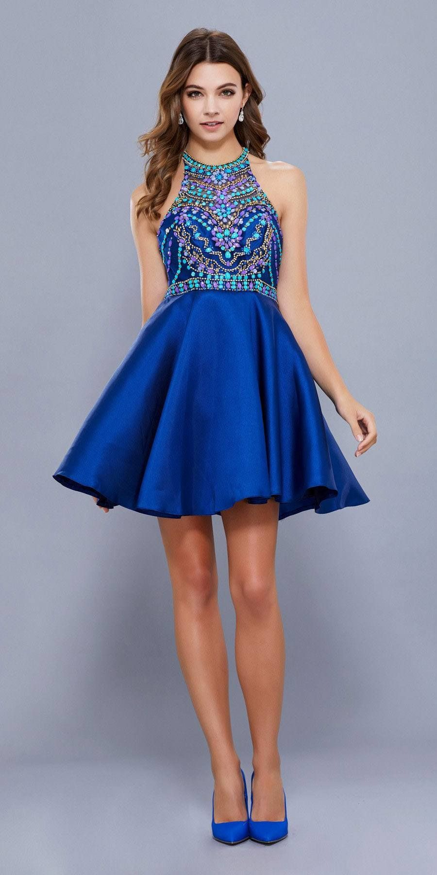 Navy blue short homecoming dress with halter beaded top party