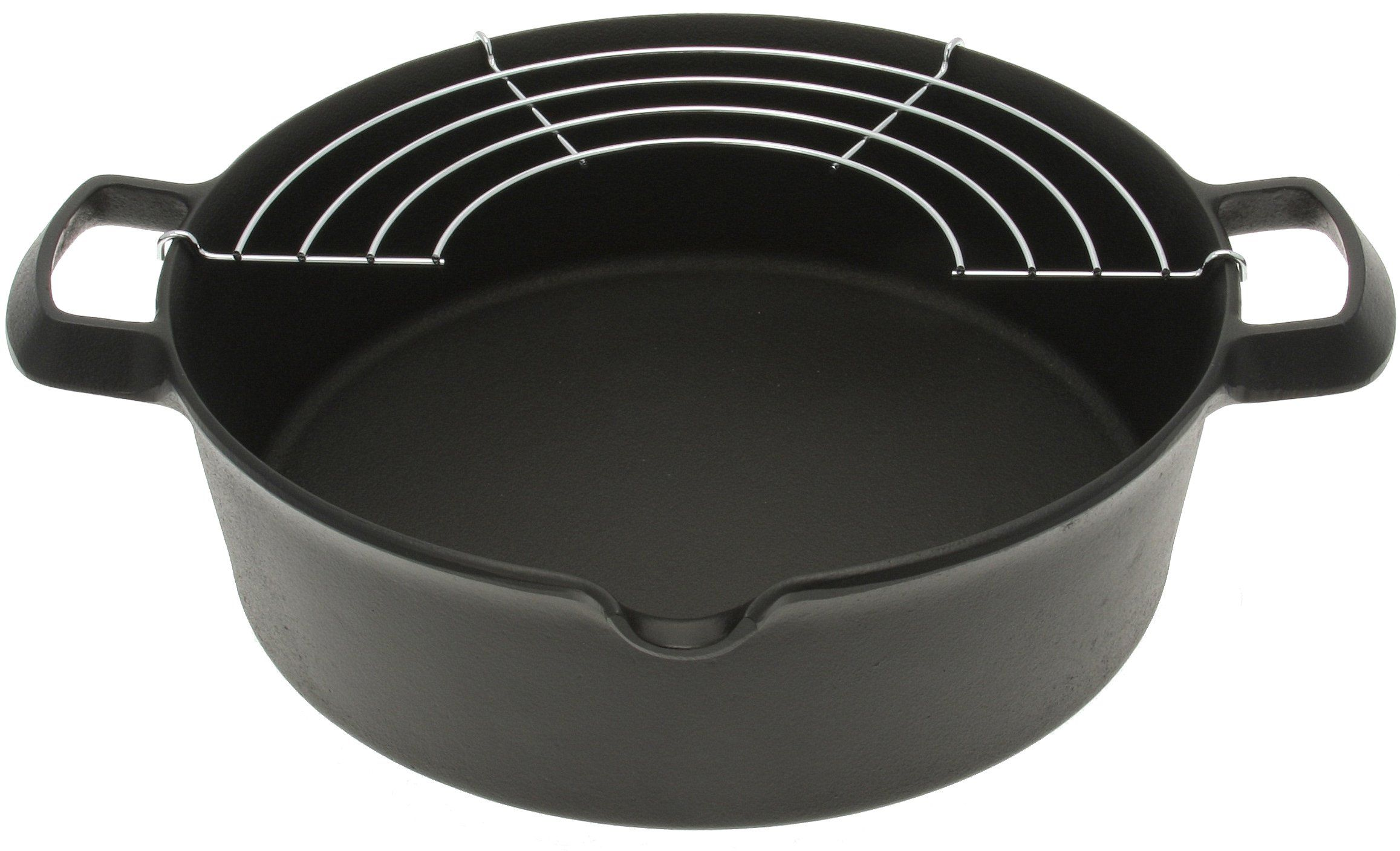 Amazon.com | Iwachu 410-185 Cast Iron Tempura and Deep-Fry Pan with Wire Rack, Large, Black: Home & Kitchen, Kitchen & Dining, Cookware, Woks & Stir-Fry Pans