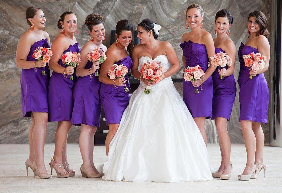 Sunset wedding theme colors. Purple, coral, orange. Purple ...