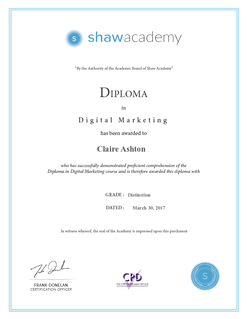 Shaw Academy - OMP - Final Assignment Claire Ashton's Certificate