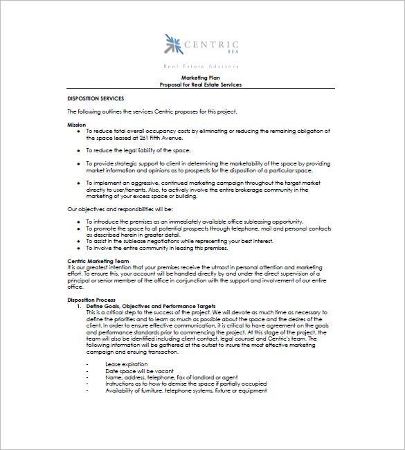 Marketing Plan For Real Estate Services Marketing Plan