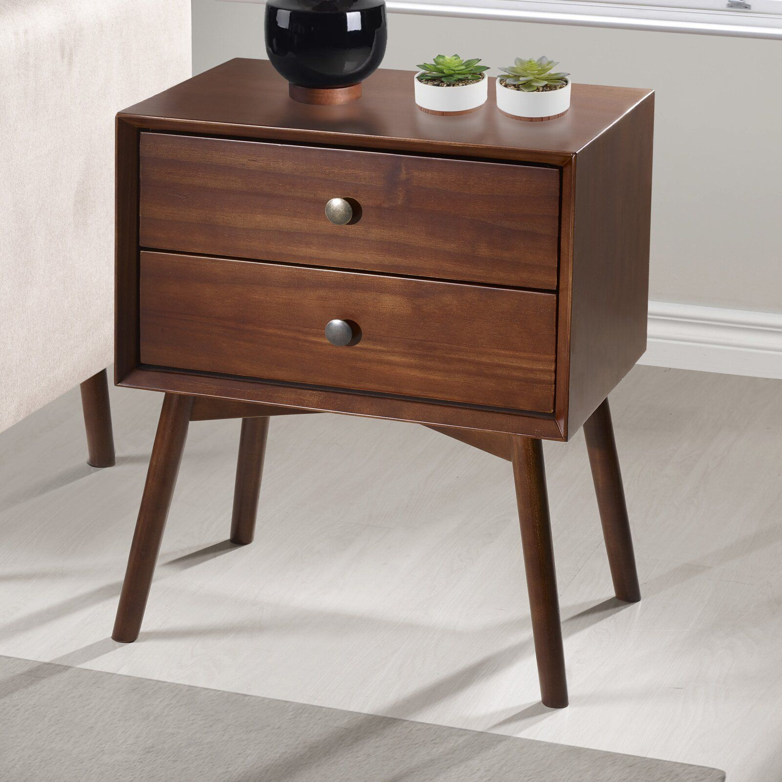 George Oliver Gerow Mid Century 2 Drawer Nightstand Furniture