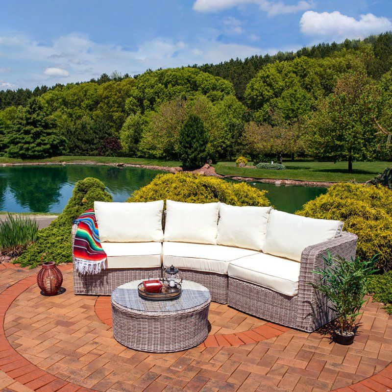 Outdoor Sunnydaze Decor Mollendo Rattan Wicker 4 Piece Sofa Conversation Set - MLM-689